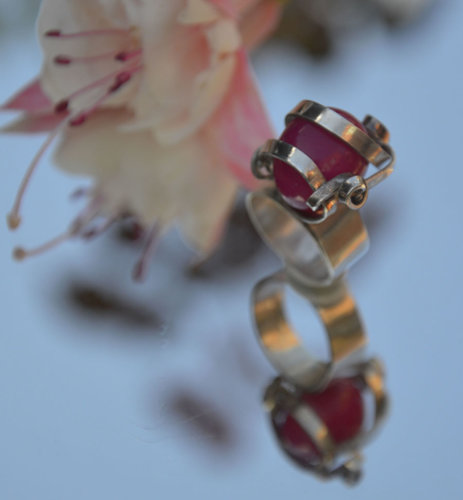 Sterling silver wrap ring with cherry pink stone