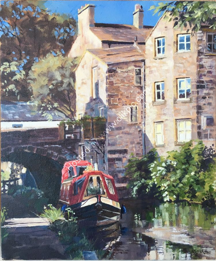 'RED BOAT RESTING' CANAL BASIN SKIPTON