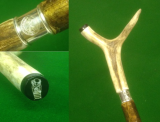 A red deer antler thumbstick, with an engraved sterling silver collar and a shank made of hazel - 3 quintessentially British materials