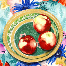 Apples in a papier maché bowl