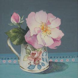 Briar rose in antique jug
