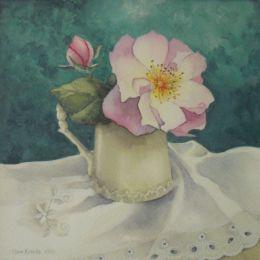 Briar rose on white cloth