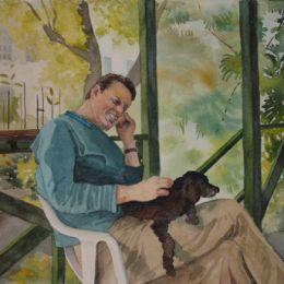 John and Thunder on the verandah