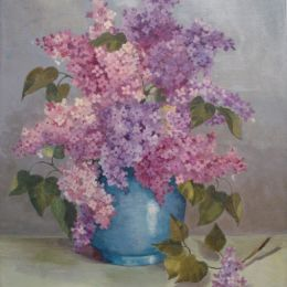 Lilac in a blue jar