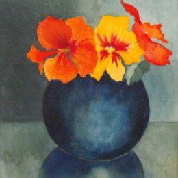 Nasturtiums in blue vase
