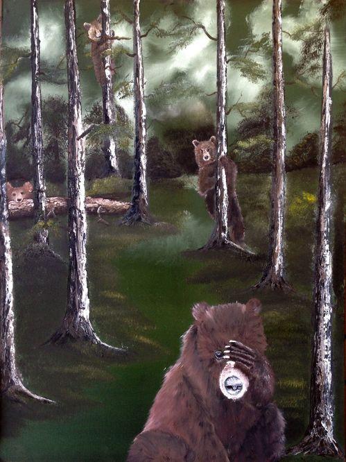 Peek a boo oil on canvas