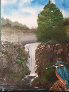 Kingfisher by waterfall