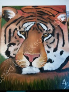Tiger surprise acrylic and oil on canvass