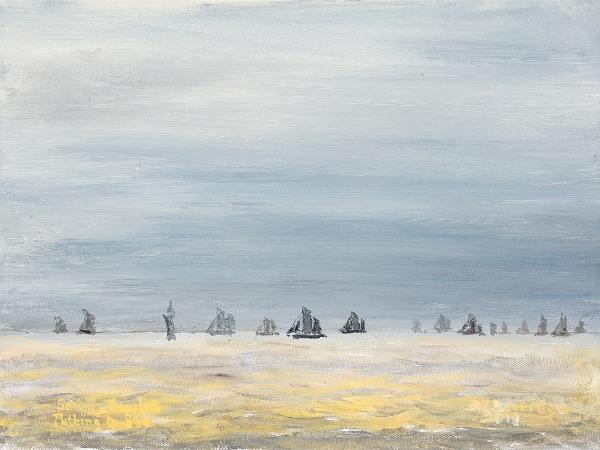 Sailing Trawlers Putting to Sea