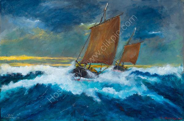 Zulus shortening Sail in the Pentland Firth