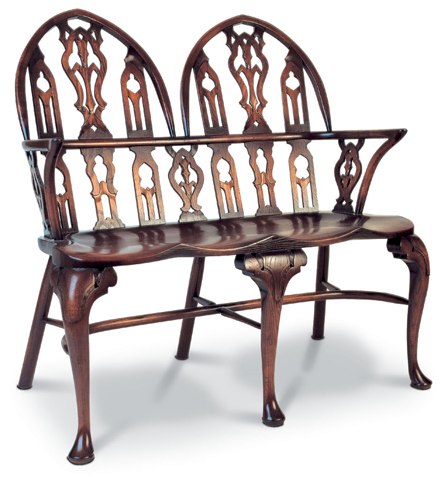 SF116 TWO-SEATER GOTHIC SETTEE <br>The use of the pointed Gothic arch, essentially a medieval architectural shape, was revived in the late eighteenth century when a taste for more exotic forms of decoration developed.