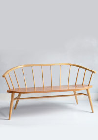 Devon bench in ash with an elm seat designed by Chris Eckersley