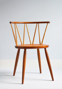 Drum side chair in cherry designed by Koji Katsuragi