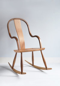 Rockingham Rocker in elm, walnut, and oak designed by Dave Green