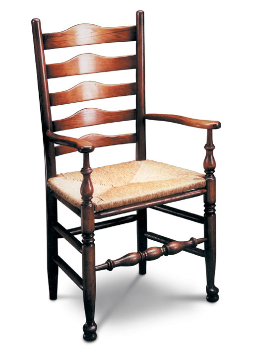 SF105 WEST MIDLANDS LADDERBACK ARMCHAIR <br>The Armchair version of the West Midlands chair, with distinctive ladder-style back, and comfortable rush seat.