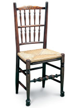 SF109 WEST MIDLANDS DOUBLE SPINDLE SIDECHAIR   A: 47cm  B:104cm   C: 48cm  D: 38cm  E: 49cm  F: n/a