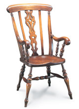 SF41  FARMHOUSE SCROLL ARM ARMCHAIR  This chair is the top-of-the-range Farmhouse, with 'Georgian' fretwork splat, and heavily scrolled arms.