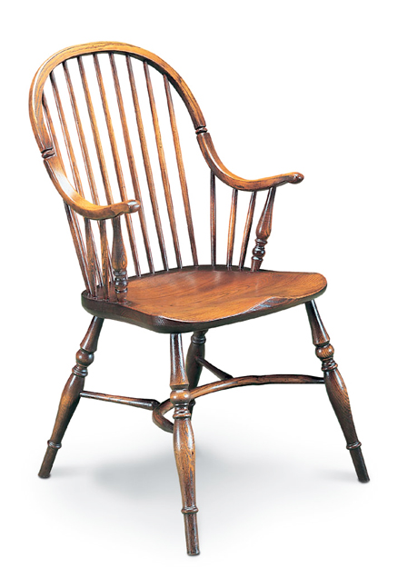 SF43  CONTINUOUS ARMCHAIR  <br> This is a regional variation of the Windsor chair which has its origins in the West Country, in particular in the village of Yealmpton in Devon.