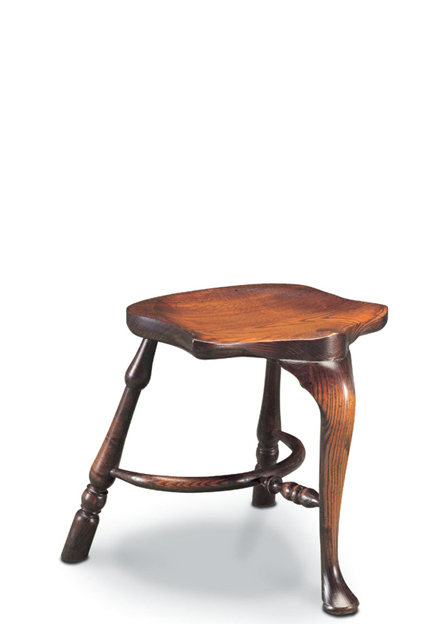 SF46 STOOL WITH CABRIOLE LEG <br> Our most up-market stool, proudly featuring a cabriole leg, an adzed seat, and a crinoline stretcher.