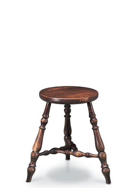 SF47 ISLE OF MAN STOOL <br> A very decorative three-legged stool (three legs will never rock, even on an uneven surface) which incorporates the Manx motif in the ingenious construction of its stretchers.