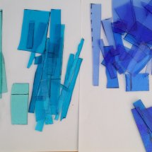 Various shades of blue green 2mm glass