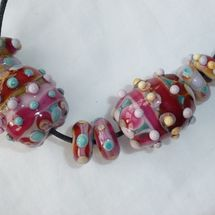 Pink Candy lamp work beads