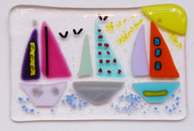 Fused Glass hanger with boats