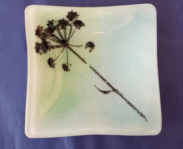 Square fused glass dish