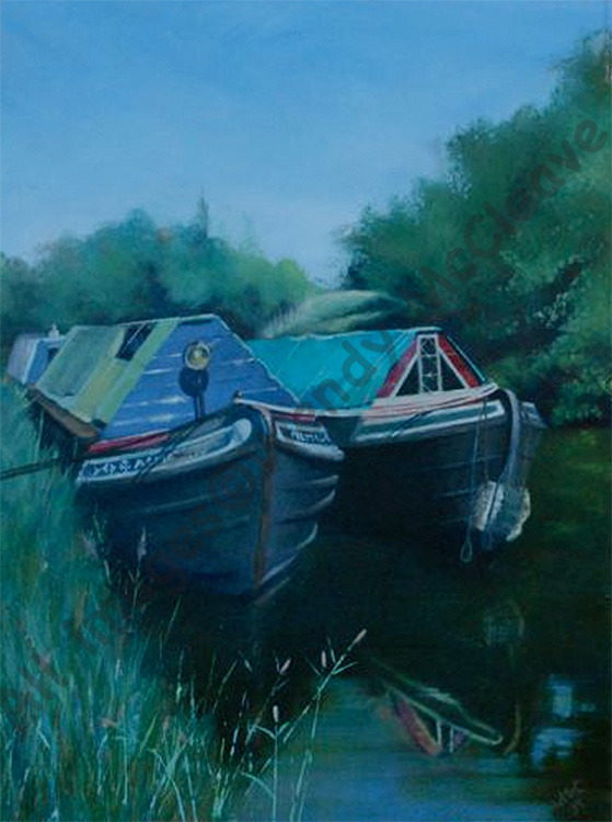 Acrylic painting on prepared paper of 2 old canal boats moored together at Bradford-on-Avon