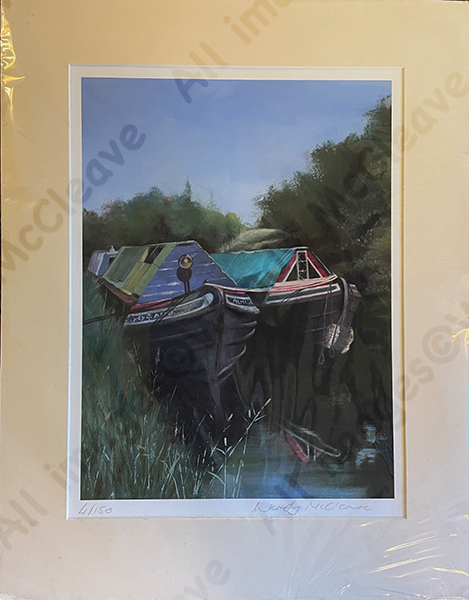 Mounted print of 2 old canal boats near Bradford on Avon
