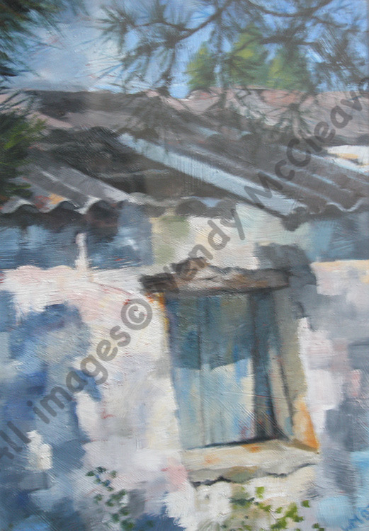 Acrylic painting on prepared paper of a derelict building on Zakynthos