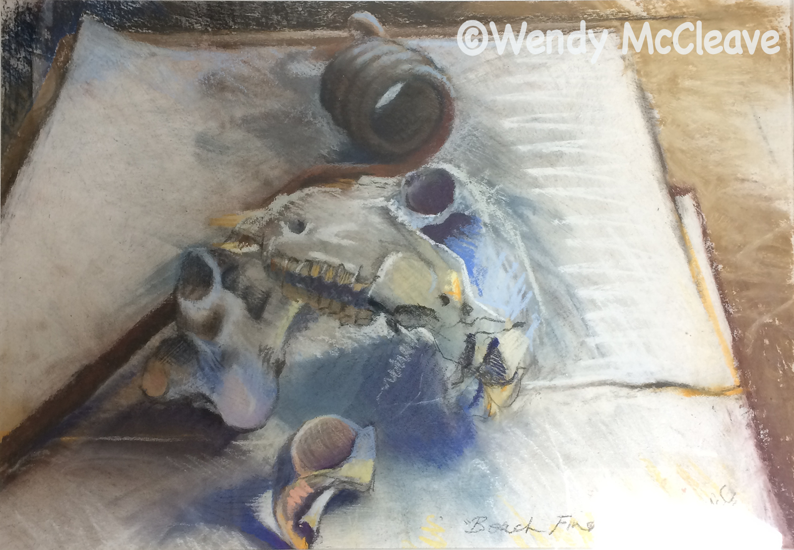 Still life mixed media painting of a collection of incongruous objects found on the beach