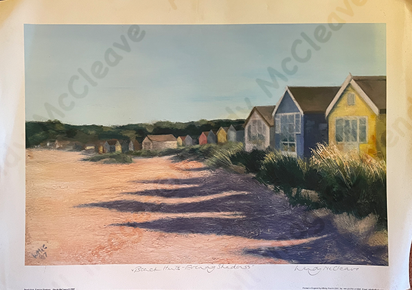 unmounted print of Beach Huts throwing long evening shadows onto the sand