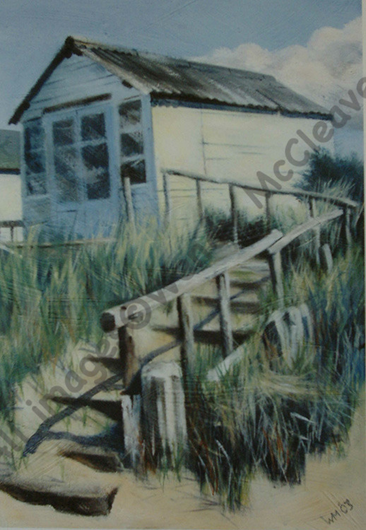 Acrylic painting on prepared paper of a beach hut at the top of several steps on Mudeford Sandbank Spit