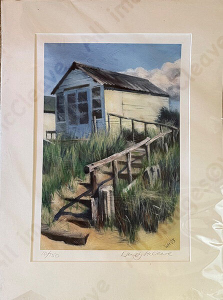 Mounted print of a beach hut with steps at Mudeford Sandbank Spit