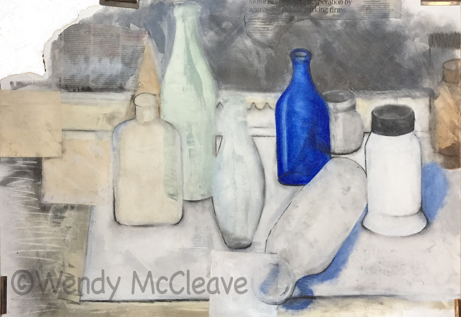 Still life of old bottles with one cobalt blue