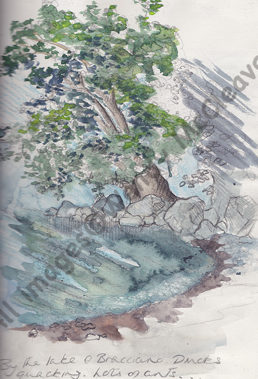 A pencil, watercolour and bodycolour sketch done at Lake Bracciano