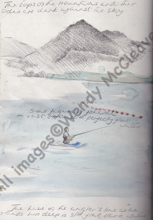 A Creta pencil and colour wash sketch of a fisherman done at Lake Bracciano
