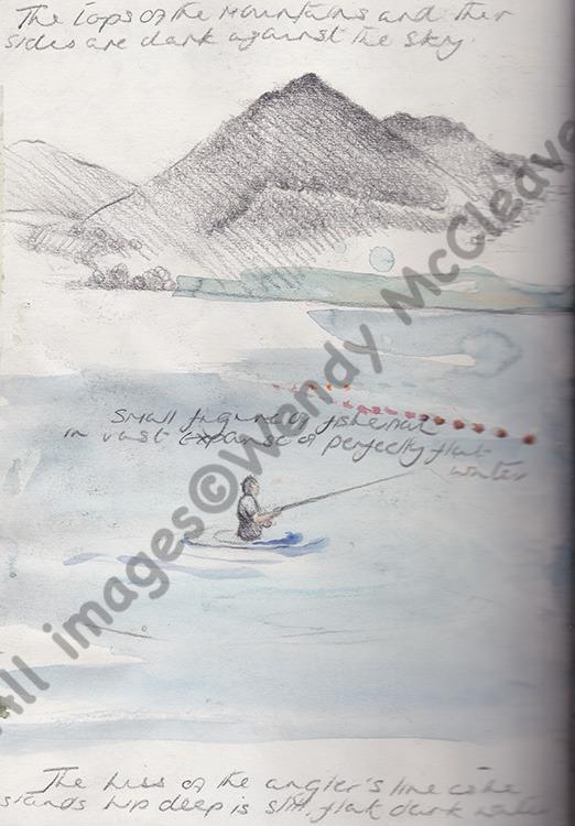 A Creta pencil and colour wash sketch of a fisherman done at Lake Bracciano