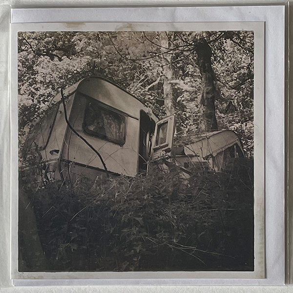 Black and white Greeting Card showing a caravan crushed by a tree
