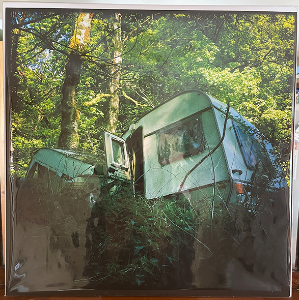 Photographic coloured print of caravan crushed by tree