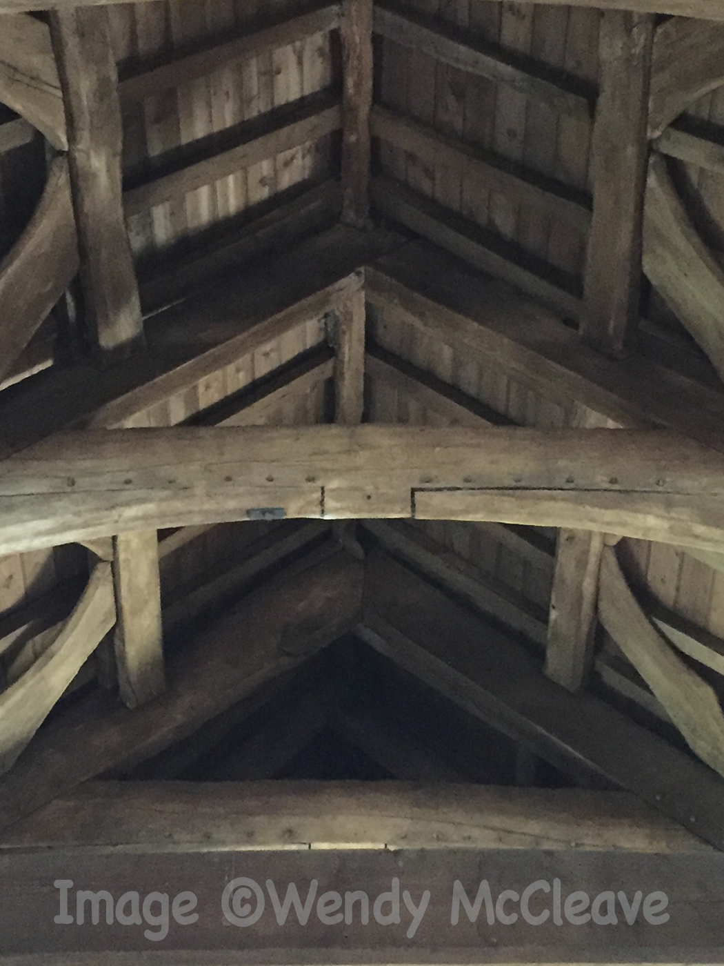 Beamed roof in St David's Church Glascwm
