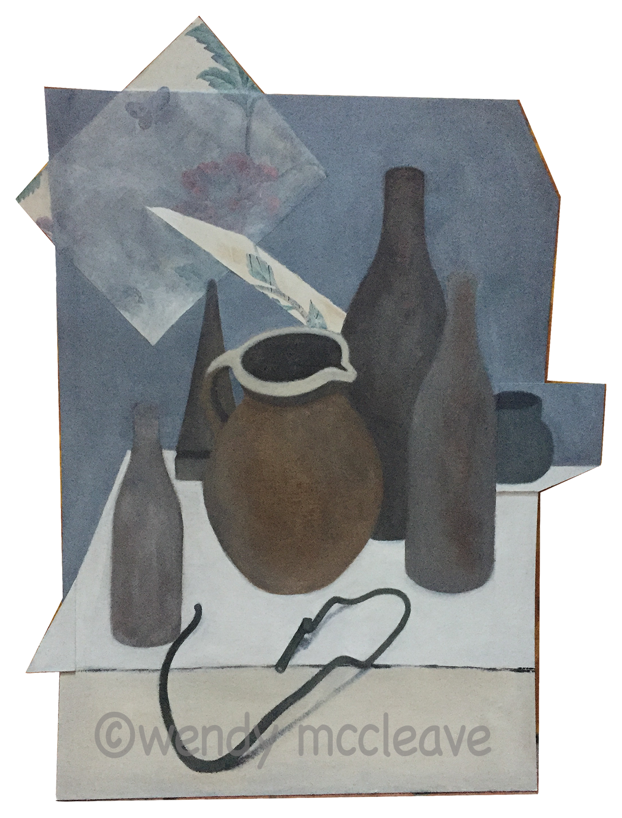 Mixed media painting of still life group, old bottles, terracotta jug, wire
