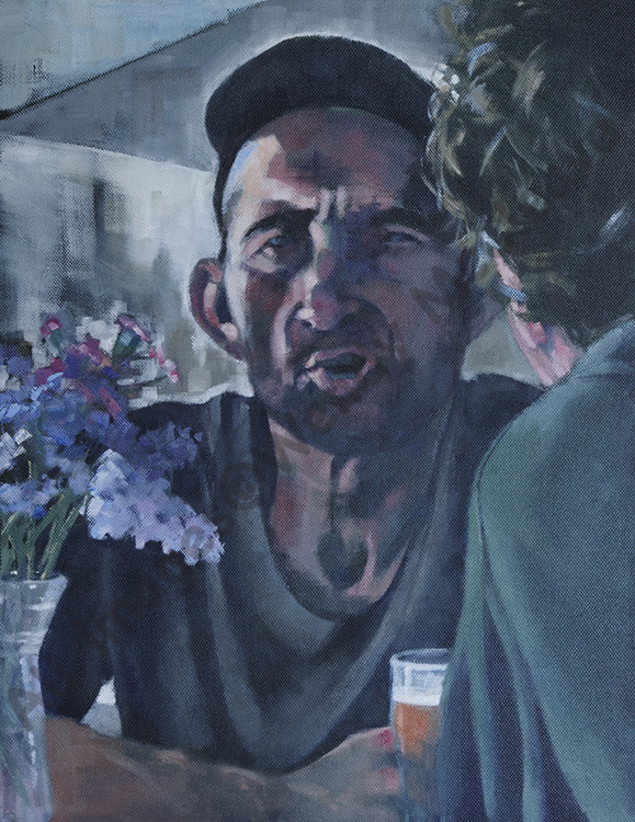 Acrylic painting on canvas of 2 men apparently having a fascinating conversation in a French Cafe