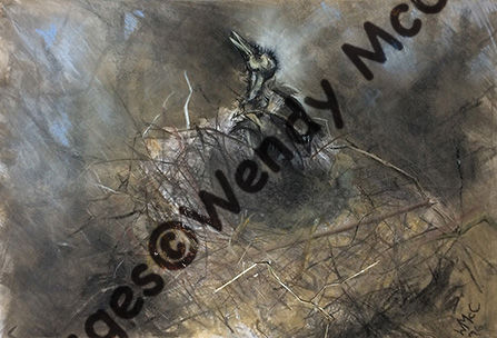 Fixed charcoal and pastel on prepared paper. A corvid nest with mummified young bird.