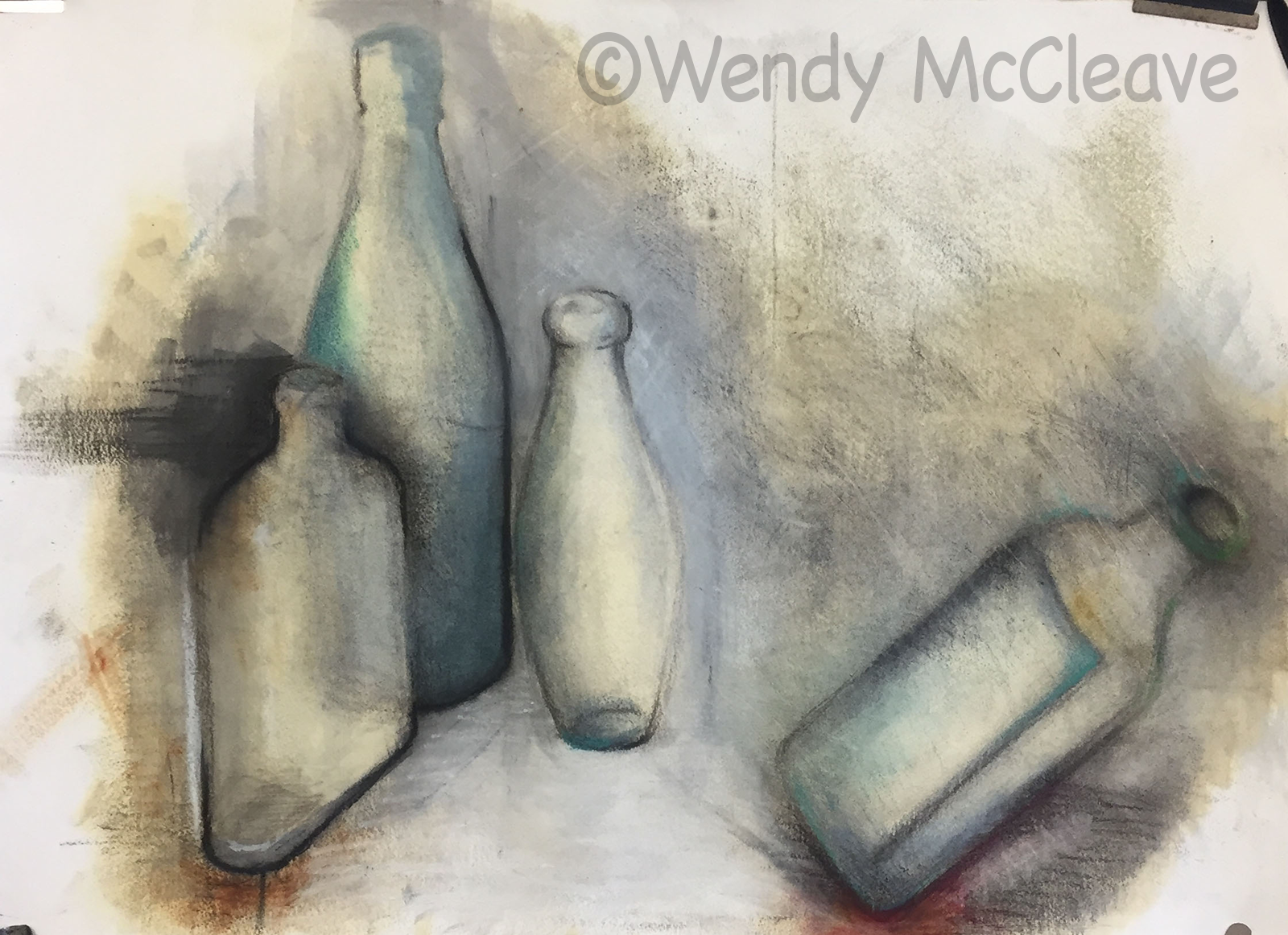Mixed media Image of old bottles with one falling