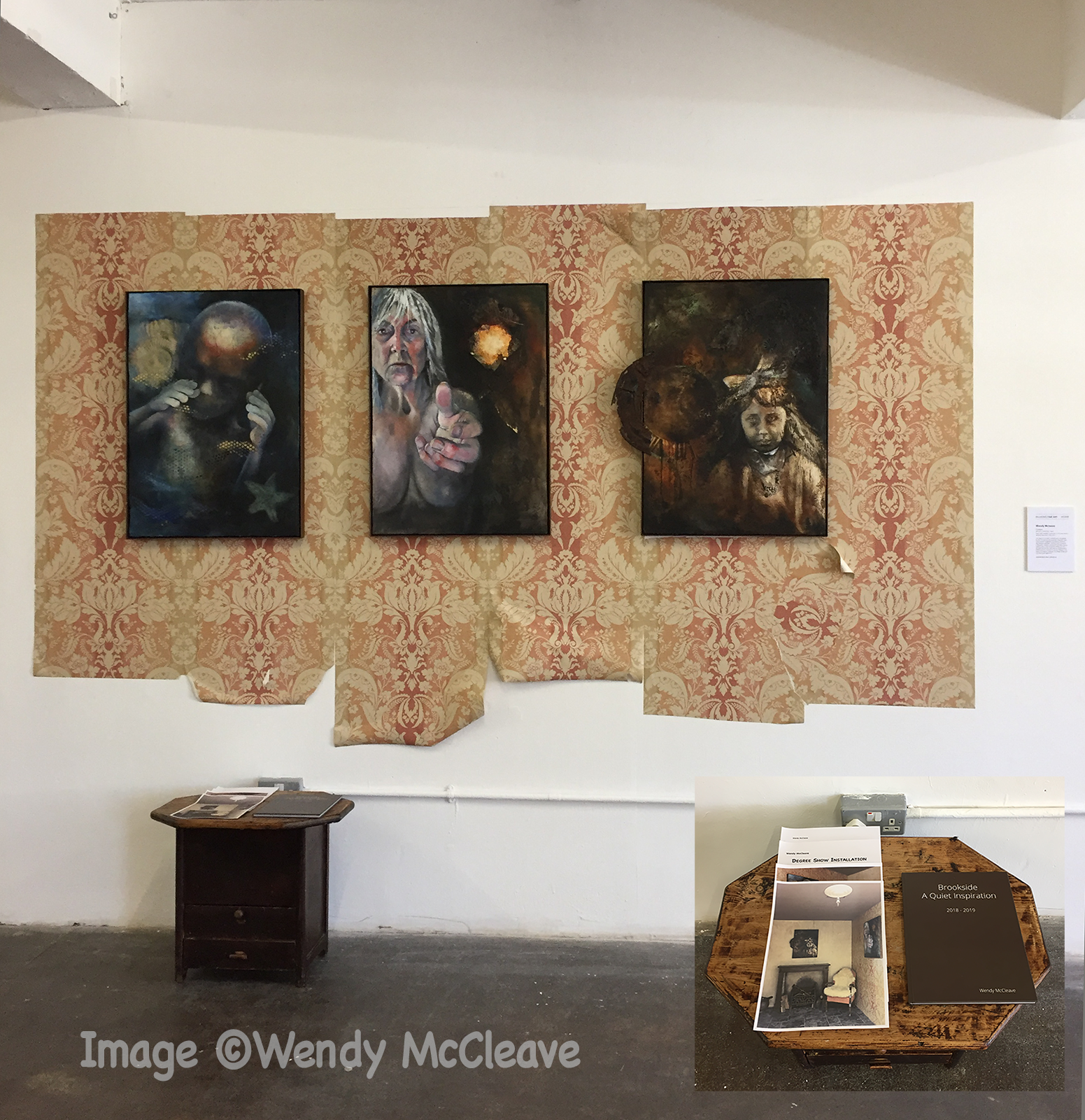 Degree Show set up at Free Range Graduate show in London; triptych, 'Passages' on wallpaper