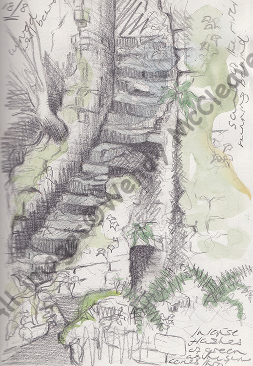 Creta pencil and wash sketch of steps at Fussells Iron Works, Somerset