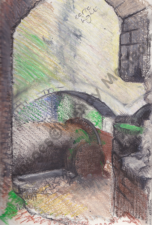 Wax pencil and oil pastel sketch done at Fussell's Iron Works. Looking out from a dank tunnel.