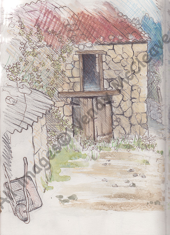 Wax pencil, Cretacolour and wash sketch done from the window of a cottage in Galicia